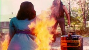 Special effects of woman burning alive