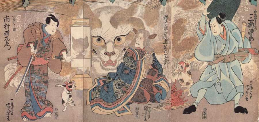 "Ume no Haru Gojūsantsugi"" (梅初春五十三駅) by Utagawa Kuniyoshi. A shapeshifting cat. A kabuki that was performed in 1835"